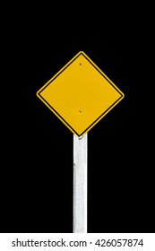 Empty yellow warning sign. Black background.