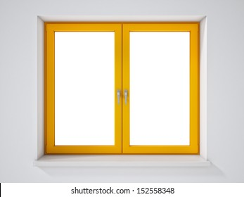 Empty Yellow Window on White Wall