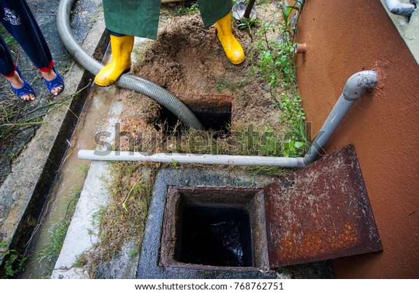 Emptying Household Septic Tank Cleaning Unblocking Stock