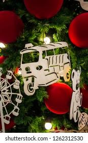 EmQuartier Shopping mall,Sukhumvit Road,Bangkok,Thailand on December 8,2018:Close-up Christmas ornaments on Christmas tree during Christmas and New Year Festival.