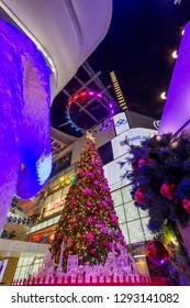 EmQuartier Shopping mall,Sukhumvit Road,Bangkok,Thailand on December 18,2018:Light up large Christmas tree to celebrate Christmas and New Year Festival
