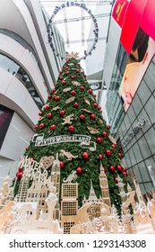 EmQuartier Shopping mall,Sukhumvit Road,Bangkok,Thailand on December 8,2018:Large Christmas tree to celebrate Christmas and New Year Festival