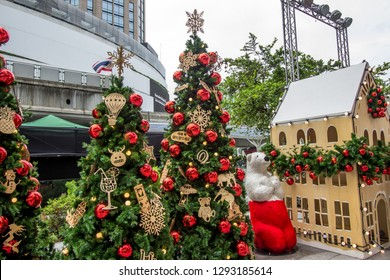 EmQuartier Shopping mall,Sukhumvit Road,Bangkok,Thailand on December 8,2018:Large white teddy bear and Christmas trees to celebrate Christmas and New Year Festival