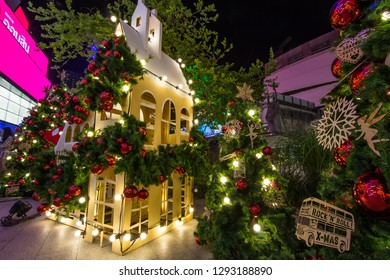 EmQuartier Shopping mall,Sukhumvit Road,Bangkok,Thailand on December 18,2018:Light up Christmas tree to celebrate Christmas and New Year Festival