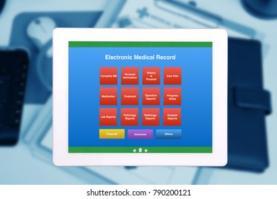EMR or electronic medical record display on tablet with blue background of medical record form on the desk.