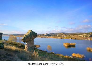 Emre dam lake  from Phrygian Valley, İhsaniye, Turkey