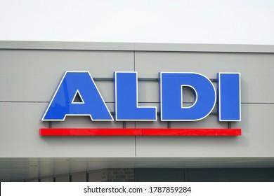EMSTEK, GERMANY - August 01, 2020: Logo of discount supermarket ALDI Nord