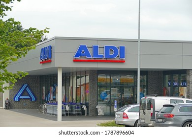 EMSTEK, GERMANY - August 01, 2020: View to discount supermarket ALDI Nord