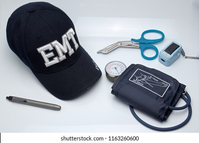 EMT equipment in Emergency Medical Service concept.