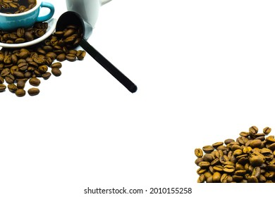 Emtpy Text Space with Coffee Cup and Beans
