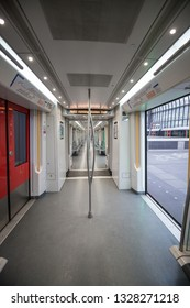 Emty Metro wagon, Metro Station Amsterdam Noord, opendoors, 3 march 2019, Amsterdam The Netherlands