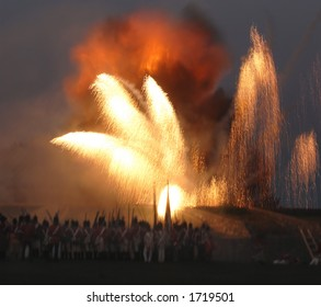 The re enactment of the Siege at Fort Erie from the War of 1812 at Fort Erie, Ontario, Canada, August 12/2006. Showing the explosion in the garrison.