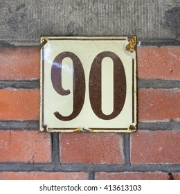 Enameled house number ninety
