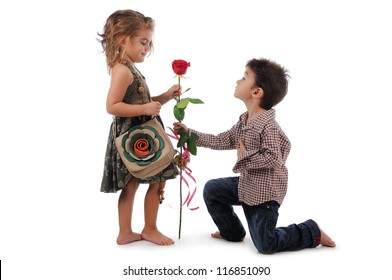 Girl and boy rose image