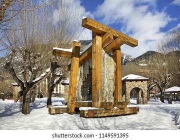 ENCAMP. ANDORRA. 12 FEBRUARY 2013 : Sculptural composition in city park of Encamp. Andorra
