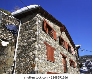 ENCAMP. ANDORRA. 12 FEBRUARY 2013 : Old stone house in Les Bons village near Encamp. Andorra