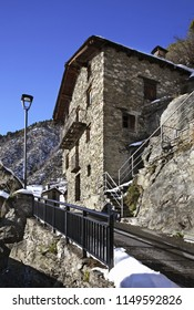 ENCAMP. ANDORRA. 12 FEBRUARY 2013 : Old stone traditional house in Les Bons village near Encamp. Andorra