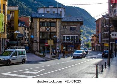 ENCAMP / ANDORRA – NOVEMBER 7, 2012: Street, road, buildings in Encamp, Andorra.