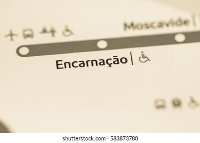 Encarnacao Station. Lisbon Metro map.