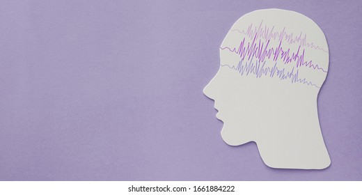 encephalography brain paper cutout with purple ribbon, autism, Epilepsy awareness, seizure disorder, mental health concept