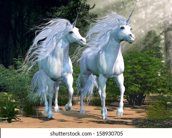 Enchanted Forest - Two buck unicorns run together through a beautiful magical forest.