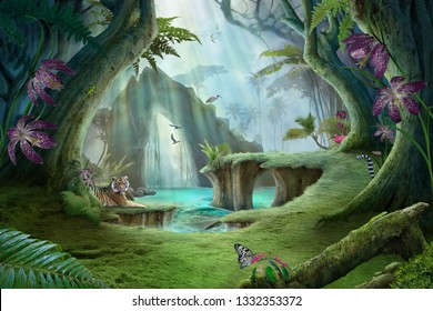 enchanted jungle lake landscape with tiger, can be used as wallpaper background