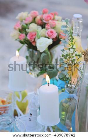Enchanted Wedding Decorations Tropical Style Seashells Stock Photo