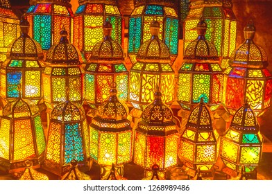 The enchanting light of arabian lanterns can carry far away, on the pages of old Arabian fairytale, Cairo, Egypt