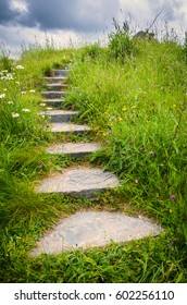 An enchanting stone staircase leads out of sight into the fairy garden meadows of Brigit's Garden in Oughterard, Ireland.