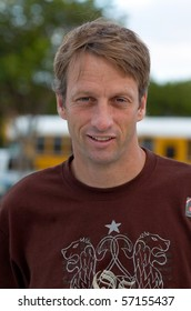 ENCINITAS, CA - AUG 2: Skate-boarder Tony Hawk takes time to pose for a photo at the YMCA Skate Park on August 4, 2004 in Encintas, California.