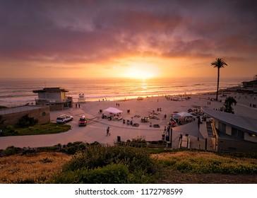 Encninitas, CA / USA September 19th 2017. Beginning of fall at Moonlight Beach.