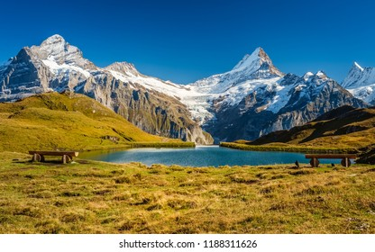 Encountering Bachalpsee during the famous hiking trail from First to Grindelwald (Bernese Alps, Switzerland). You can have great views on mountains like the Eiger, Monch and Jungfrau.