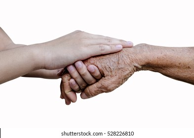 Encouragement old and young hands isolated on white background,include clipping path.