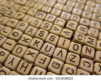 Encrypted background with words about love, find the words Kiss and Passion