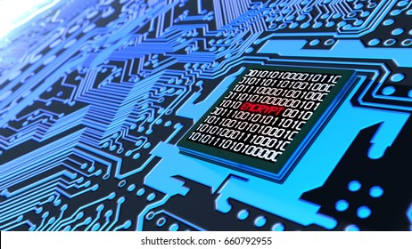 Encrypted data cybersecurity concept circuit board with binary datastreams and the word encrypt on cpu 3D illustration