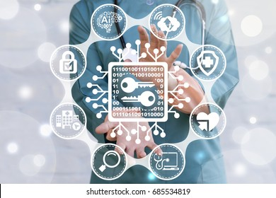 Encrypted Data Medicine Security Concept. Doctor offers microchip number zero one keys icon on virtual screen. Secure Health Care Information Technology.
