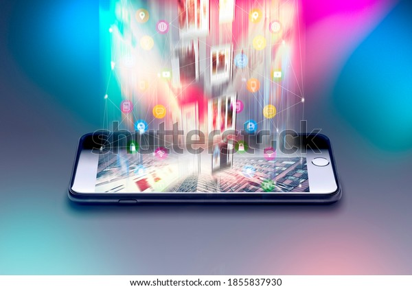 Encrypted mobile data from a smartphone, 5G, steaming service Creative abstract mobile internet web communication security and safety business commercial concept: black glossy touchscreen iphone, app