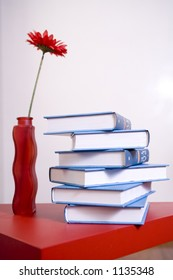 encyclopedia on red table with red gerbera