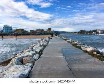 The end of the beach season on the Adriatic Rimini.A Stone Pier