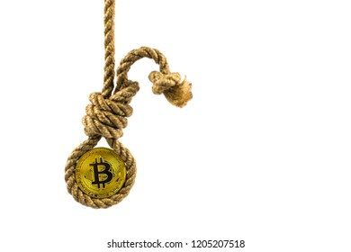 End of bitcoin. Coin bitcoin in the gallows on a white background. Isolated.
