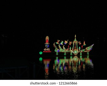 end of Buddhist Lent festival have The new steamer Light show. Mueang District, Nong Khai Province October 25, 2018