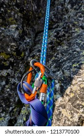 End of climbing. Rappel down on the climbing rope using a descender.