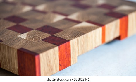 End grain cutting board from the angle
