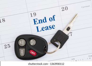 End of lease message with monthly calendar with car keys and fob