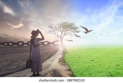 Neues normales Konzept: Frauenstehend zwischen Klima verschlechtert sich mit guter Atmosphäre und Vögel fliegen und zerbrochene Kette