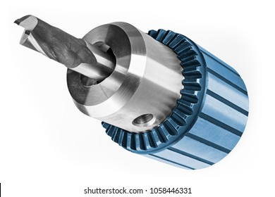 End mill clamped in chuck isolated on white background. Close-up of decorative steel cutter for milling. Idea of metalwork and mechanical engineering.