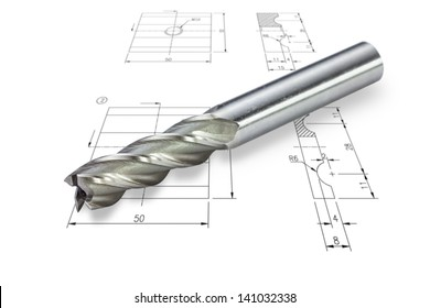 End mill cutter, isolated on drawing background with clipping path