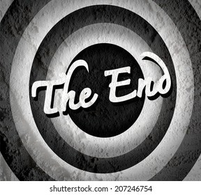 the end Movie ending screen on Cement wall texture background
