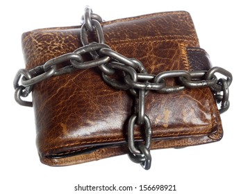 End of personal spending. Poor economy represented by empty wallet in chain isolated on white
