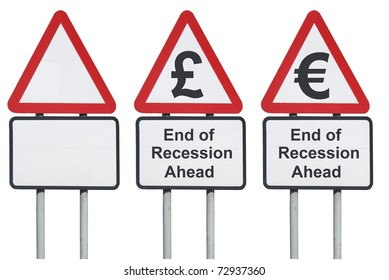 End of recession ahead road sign